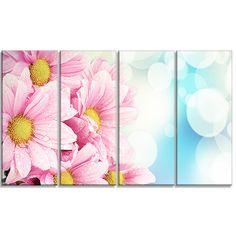 DesignArt 'Pink Flowers Bouquet on Blue' 4 Piece Graphic Art on Wrapped Canvas Set