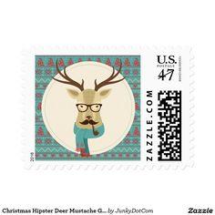 Christmas Hipster Deer Mustache Glasses Pipe Stamp Nov 28 2016 @zazzle #junkydotcom  5x