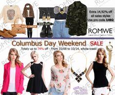 PROMOÇÃO #Romwe Columbus Day Weekend Sale Até 74,92 % de DESCONTO De 08/10 a 14/14 , uma semana inteira!  Romwe Columbus Day Weekend Sale Up to 74.92% off From 10/08 to 10/14, whole week! Don't miss, girls!