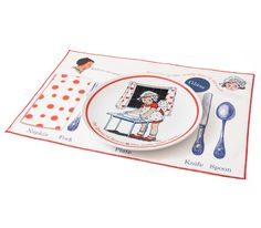 "Complete ""Manners"" line setting #manners #childrensdinnerware"