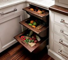 12 Storage Ideas For Fruits and Vegetables 1  Love the curved shallow-enough drawers.