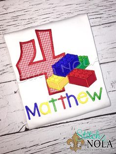 Blocks Birthday Shirt or Bodysuit by StitchNOLABoutique on Etsy Lego Invitations, Milestone Birthdays, Birthday Shirts, Bodysuit, Notes, Stitch, Sewing, Confusion, Disappointment