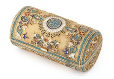 A Russian silver-gilt and cloisonné enamel lady's barrel form cigarette case, Moscow, 1886, with geometric and foliate ornament on a stippled gilt ground with turquoise beaded borders.