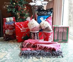Warm & Cozy Chocolate Gift Basket {DIY Gift Link Party} - materials_for_gift_baskets - Homemade Gift Baskets, Diy Gift Baskets, Christmas Gift Baskets, Homemade Gifts, Christmas Ideas, Christmas Gifts, Raffle Baskets, Xmas, Christmas Decorations