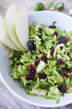 Shaved Brussels Sprout Salad with Pear & Cranberry #justeatrealfood #projectsunny