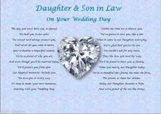 SON DAUGHTER IN LAW Wedding Day Poem Gift In Home Furniture DIY Celebrations Occasions Other