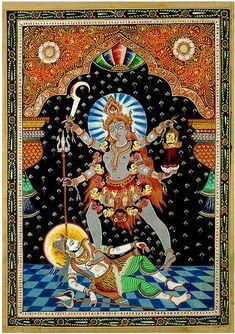 """The Merciful Kali"" Patachitra Silk Painting Hindu Art, Kali Goddess, Mother Goddess, Traditional Paintings, Traditional Art, Mother Kali, Kali Mata, Maa Kali Images, Buddhism"