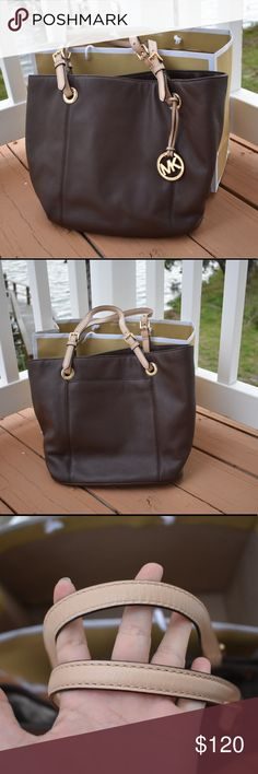 Michael Kors Mocha Jet Set Large Tote Authentic Excellent used condition. This is a reposh. I purchased it and fell in love but I never got to use it. I have so many purses and totes that I will be cleaning out my closet of items because We are downsizing our house and trying to get rid of unused items. All photos show any flaws. Please don't hesitate to ask me questions. Comes with the MK bag. Michael Kors Bags Totes