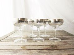 Vintage Mad Men Silver Ombre Wine Glasses Set of by LaRouxVintage $44
