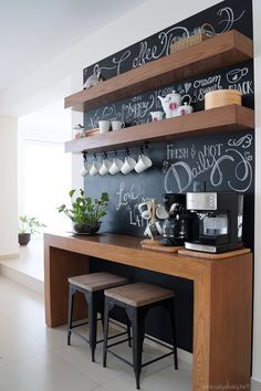 Office Coffee Bar, Kitchen Breakfast Bar Small, Small Coffee Bar, Tea Bar, Coffee Bars, Home Coffee Bar Ideas, Coffee Station, Beverage Bar