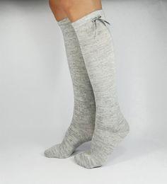 Knee High Socks Knee Socks Grey Socks Women's Socks by NiftySox