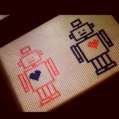 Robot LOVE cross stitch.