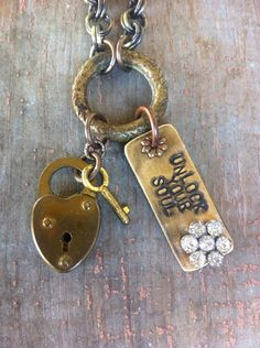 Hand Stamped Unlock Your Soul Necklace with Vintage Heart Shaped Lock & Key  on Etsy, $48.00