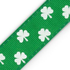 "Lucky Shamrocks: 1"" Chica Band Non-Slip Headband with white shamrocks on kelly green. Retail: $12. Shop now at www.ChicaBands.com!"