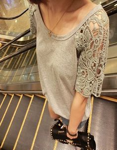 Summer New Fashion Crochet Patchwork T-shirt For Lady