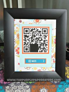 Perfect for a guest room or entryway! Tutorial: How to print out a QR code giving your guests access to your home's wifi. It's a nice courtesy, convenient, and it looks cute too!
