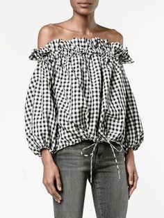 Marques'almeida блузка в клетку гингем с открытыми плечами
