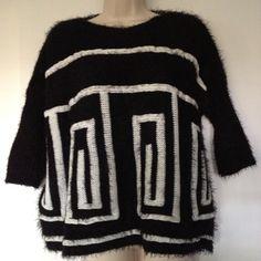 "Selling this "" Black & White Mohair Geometric Sweater"" in my Poshmark closet! My username is: bikerchick64. #shopmycloset #poshmark #fashion #shopping #style #forsale #Sweaters"