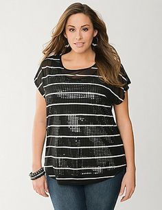 We took the work out of the layered look for you, and created this style-savvy combo of a sheer striped tee over a sequined tank. Fun and flattering in one easy piece, this eye-catching top features short sleeves and a charming scoop neckline. Dressed up or down, this one is a knock-out! lanebryant.com
