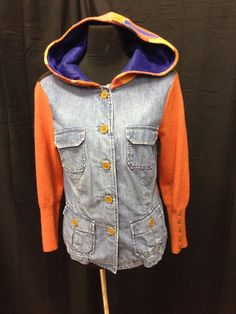 Ladies medium Upcycled denim and wool sweater jacket by 47Sweaters