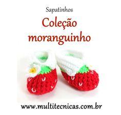 Sapatinho - Coleção moranguinho  Vermelho  Feito em crochê, com lã para bebê.  Cor: vermelho/branco e verde     Tamanho: 2 a 6 meses R$ 25,00
