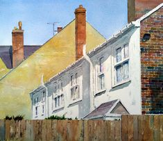 Peter Robinson, Urban Landscape, Cityscapes, Terrace, Watercolor Paintings, Walls, Industrial, Balcony, Patio