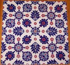 12-Iznik-Red-Blue-Carnation-Daisy-Pattern-8-x8-Turkish-Ceramic-Tile
