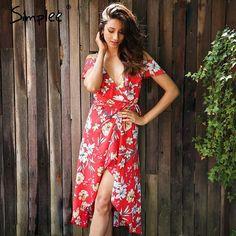 Vintage Boho Loral Print V Neck Lace Up Long Dress Split Beach Summer