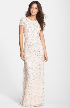 Adrianna Papell Short Sleeve Sequin Mesh Gown (Regular & Petite) | Nordstrom