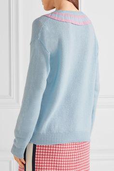 Prada - Ruffle-trimmed Two-tone Cashmere Sweater - Sky blue - IT