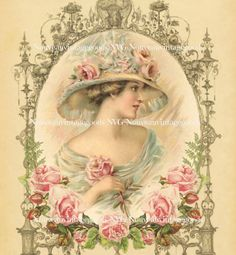 Antique Lady Head Art Print Instant by NouveauVintageGoods on Etsy