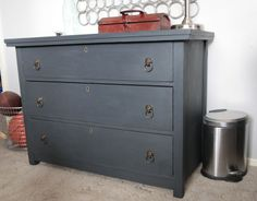 Annie Sloan's Chalk Paint in Graphite on it and waxed it with clear wax.