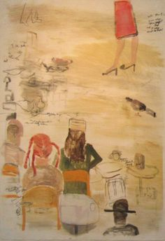 """MARK MULHERN, SITTING AT THE CAFE, Monotype, 41 1/2 x 29 1/2"""""""