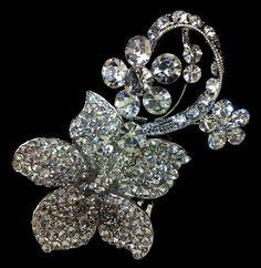 Flower Vine Haircomb Rhinestone Crystal Wedding by YJDesign, $45.00