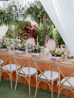 This glamorous al fresco wedding in Maui is serious wedding goals! With lush hanging florals over the reception tables, an outfit change for both the bride and the groom, and burnt orange details throughout, we are totally fangirling over this wedding. Beach Wedding Attire, Beach Wedding Reception, Wedding Ceremony Decorations, Reception Table, Hawaii Wedding, Wedding Goals, Wedding Ideas, Wedding Tables, Maui Weddings