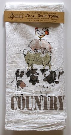 Charmant Farm Kitchen Towel | White Cotton Flour Sack | Cow Pig Chicken Sheep Country