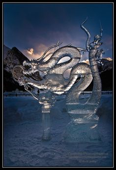Mirror, Mirror by Neil Jolly. An Ice carving from the 2011 Ice Magic Festival at Lake Louise, Alberta. ~In the time of Dragons~ Snow Sculptures, Art Sculpture, Metal Sculptures, Abstract Sculpture, Bronze Sculpture, Ice Dragon, Dragon Art, Snow And Ice, Fire And Ice