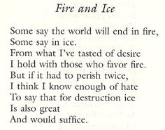 robert frosts fire and ice essay