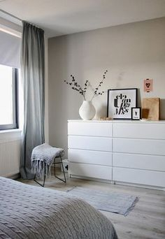 Another grey and white bedroom with a hint of pink. Bedroom by Holly Marder —- white dresser Another grey and white bedroom with a hint of pink. Bedroom by Holly Marder —- white dresser Ikea Malm Dresser, Minimalist Bedroom, Minimalist Kitchen, Minimalist Interior, Minimalist Decor, Modern Minimalist, Bedroom Styles, Room Inspiration, Bedroom Decor