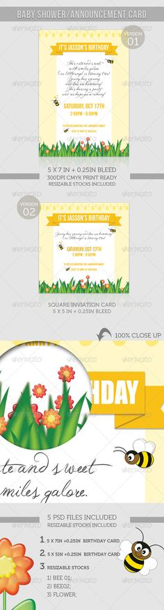 Birthday Invitation - Spring Humming Bee by katzeline CMYK Print ReadyResizable stocks included ( files);[ Support & Help ]Don't hes Funny Greeting Cards, Birthday Greeting Cards, Birthday Greetings, Print Templates, Design Templates, Baby Shower Announcement, Fashion Design Template, Birthday Invitations, Summer Sun
