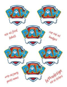 Paw Patrol Birthday Party Badge PDF file by laPradesign on Etsy, $3.00