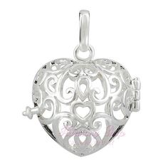 Silver Heart Pendant Gift | silver-plated-cage-pregnancy-gift-chime-ball-wholesale-hearts-women ...