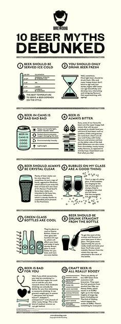 10 Beer Myths infographic for BrewDog by United Creatives. More Beer, All Beer, Wine And Beer, Best Beer, Craft Bier, Beer 101, Beer Poster, Beer Quotes, Home Brewing Beer