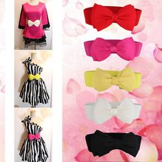 2016 Fashion Women Bowknot Elastic Bow Wide Stretch Buckle Waistband Waist Belt 2
