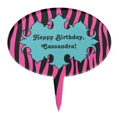 Hot pink zebra print with blue banner birthday cake toppers