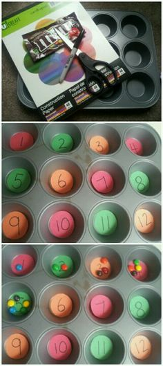 Super easy number recognition activity for toddlers. Takes 10 minutes to set up (easy to prep during nap time or while toddler is eating lunch), and can easily toss numbers in ziplock bag and pull out every couple of days to teach number recognition and counting. Also, can be used for color sorting and pattern repetition. Help your toddler learn that math is fun!
