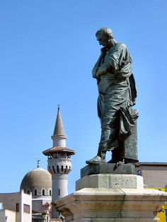 Ovid statue and Carol I Mosque. In AD the Roman poet was banished here by Augustus, where he found his death eight years later. He laments his exile in Tomis in his poems: Tristia and Epistulae Ex Ponto. Eastern Europe, Roman Empire, Statue Of Liberty, Places To Visit, Death, Mosque, Country, Monuments, Europe