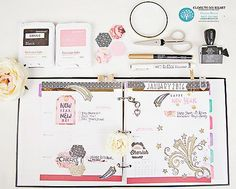 Connie Blossom's Close To My Heart Craft Place - First spread inside the CTMH Planner! Using Great Job (C1588) some La Vie En Rose papers, gold foil tape & more