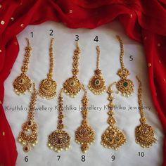 Tika Jewelry, Bridal Jewelry, Gold Jewelry, Jewellery Earrings, India Jewelry, Ear Jewelry, Gold Earrings Designs, Gold Jewellery Design, Gold Haram Designs