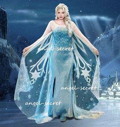 J767 Frozen Snow Queen Elsa Cosplay Costume Dress Tailor Handmade Custom Made | eBay